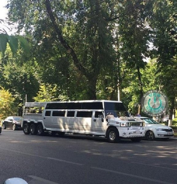 Уникальный 25-местный лимузин Mega Hummer прокатился по Воронежу