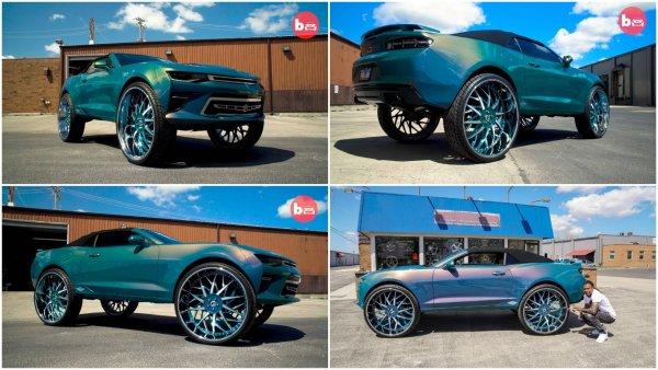 Тюнинговый Chevrolet Camaro получил огромные колёса и телевизор