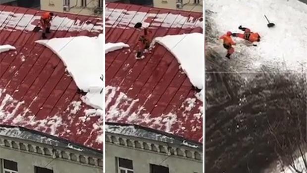 Дворник упал с крыши дома - видео